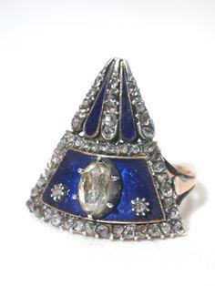 Georgian Fan Shapes Blue Enamel Diamond Ring