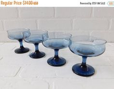 Vintage Libbey Blue Pedestal Glasses  Set of 4   Measures 3 7/8 inches in height, and 3 3/4 inches i