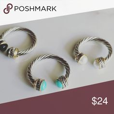 Dainty silver jewelry statement ring midi rings Rhodium and silver  Cuff style so fits any size  You can style it as a midi ring or by it self or all of them at once  Natural authentic turquoise and black onyx the pearl one is man made material. Alquimia Jewelry Rings