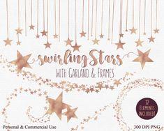 ROSE GOLD STAR Clip Art Commercial Use Clipart Rose Gold Foil