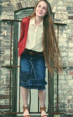 Custom Order Denim Rose Ruffle Modest Jean Skirt for Teens. $44-  http://www.lovemyjeanskirt.com/shop/custom-made-to-order-modest-jean-skirts/custom-order-denim-rose-ruffle-jean-skirt-teen/
