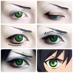 """Yuichiro Hyakuya Makeup Tutorial These lenses are Goblin"""" from Hope this will be helpful - Anime Makeup Tutorial, Cosplay Makeup Tutorial, Cosplay Diy, Anime Eye Makeup, Anime Cosplay Makeup, Anime Eyes, Asian Makeup, Amazing Cosplay, Eye Make Up"""
