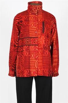 High Collar Big Shirt - Cayene Red @$109.00