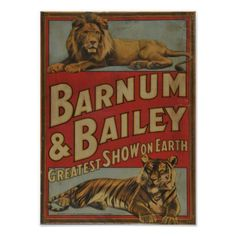 Barnum and Bailey Circus Vintage Poster - vintage gifts retro ideas cyo