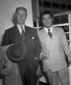 Christian Dior (left) arrives in New York with Salvatore Ferragamo. #vintage http://www.pinterest.com/pin/461056080575673436/