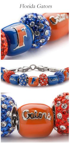 Florida Gators: Gear up for the game! We have a wide range of licensed University Jewelry as well as accessories & travel gifts. All jewelry pieces fit Pandora charm bracelets. Florida Gators Softball, Uf Gator, Florida Girl, Pandora Bracelet Charms, Body Jewelry, Women Jewelry, Handmade Jewelry, Jewelry Making, Beaded Bracelets