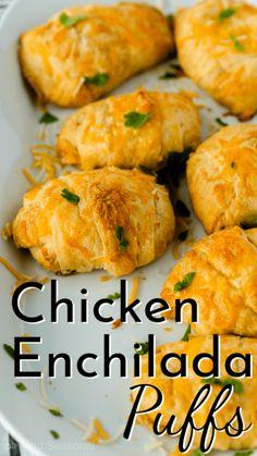 Easy Chicken Dinner Recipes, Easy Baked Chicken, Easy Appetizer Recipes, Yummy Appetizers, Baked Chicken Enchiladas, Kid Recipes Dinner, Mexican Food Appetizers, Appetizer Dinner, Easter Appetizers