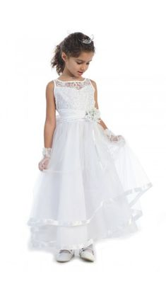 9969b5f3eb7 Sleeveless embroidered organza bodice with pearl accents and a layered  skirt lined with two tiers of satin. Perfect for weddings
