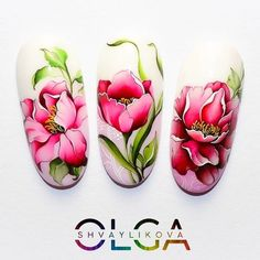 Make an original manicure for Valentine's Day - My Nails Floral Nail Art, Nail Art Diy, Diy Nails, Cute Nails, Bright Summer Nails, Spring Nails, Nail Designs Spring, Cool Nail Designs, Uñas One Stroke