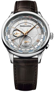 Maurice Lacroix Watch World Timer #bezel-fixed #case-material-steel #case-width-42mm #date-yes #day-night-yes #delivery-timescale-4-7-days #dial-colour-silver #gender-mens #gmt-yes #luxury #movement-automatic #official-stockist-for-maurice-lacroix-watches #packaging-maurice-lacroix-watch-packaging #style-dress #subcat-masterpiece #supplier-model-no-mp6008-ss001-110 #warranty-maurice-lacroix-official-2-year-guarantee #water-resistant-50m #world-time-yes