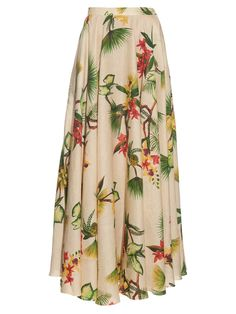 Tropical floral-print linen maxi skirt  | Isolda | MATCHESFASHION.COM US