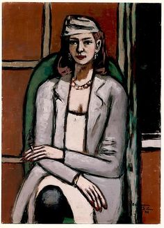 Quappi in Grey by Max Beckmann. Oil on canvas, × inches; Private Collection, New York. © 2016 Artists Rights Society (ARS), New York / VG Bild-Kunst, Bonn. Max Beckmann, History Of Modern Art, Museum Of Modern Art, Art History, Sad Paintings, Classic Paintings, Gouache, Neue Galerie New York, Carl Friedrich