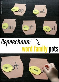 Super fun! Leprechaun Word Family Pots. Motivating word family game for St. Patrick's Day.