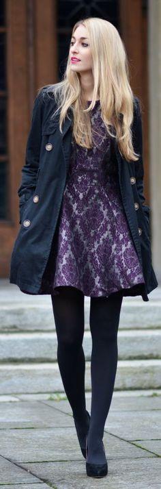 vestido estampado en morado - purpura & complementos en azul-marino