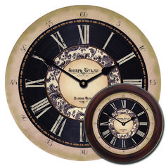 A nice, vintage style large wall clock with a toile design on the face. Works great as an office clock or living room clock. You can have this clock customized with your own logo/text, or just leave it blank. Many sizes are available, and frames can be added as well.