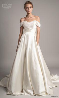 3d7a4e79e68 jenny yoo spring 2019 bridal off the shoulder sweetheart neckline simple  minimalist elegant a line wedding