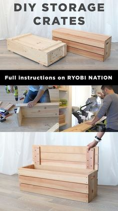 These DIY Storage Crates by HomeMade Modern will make the most of your garage space! See the plans on RYOBI Nation. in 202 These DIY Storage Crates by HomeMade Modern will make the most of your garage space! See the plans on RYOBI Nation. Woodworking Furniture, Furniture Plans, Diy Furniture, Woodworking Projects, Woodworking Videos, Woodworking Shop, Woodworking Classes, Popular Woodworking, Woodworking Patterns