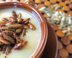 Creamy Celeriac Soup with Spiced PumpkinSeeds. Perfect for Passover and everyday eating! #vegan