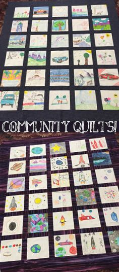 One of our special projects over Thanksgiving Break in 2017 was Community Quilts! Kids decorated quilt squares that were then assembled into quilts that will be donated to local kids in need. Here are two of the finished quilt tops Interactive Art, Children In Need, School Holidays, Quilt Top, Square Quilt, Kids Decor, Spring Break, Special Events, Storytelling