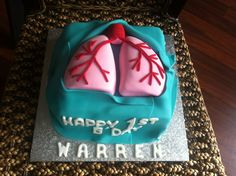 Definitely getting this cake when my Mom gets her new lungs Idiopathic Pulmonary Fibrosis, Cystic Fibrosis, Organ Transplant, Organ Donation, Anniversary Parties, Creative Cakes, Lunges, Fondant, Sweet Treats