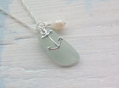 anchor, sea glass, and shell necklace