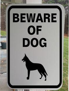 Beware Of Dog White Aluminum sign by GraniteCityGraphics Window Decals, Vinyl Decals, Beware Of Dog, Aluminum Signs, Truck, Lettering, Pets, Car, Animals