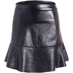 PU Flounce Ruffles Bodycon Skirt ($12) ❤ liked on Polyvore featuring skirts, rosegal, ruffled skirt, frilly skirt, body con skirt, flounce skirt and frilled skirt