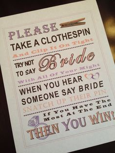 Hey, I found this really awesome Etsy listing at https://www.etsy.com/listing/226046884/bridal-shower-game-dont-say-bride