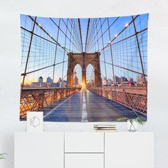 Searching for a New York Bridge Tapestry? Shop for high quality Wall Tapestries designed by independent artists on W. New York Bridge, Brooklyn Bridge, Cool Tapestries, Tapestry Design, A Team, Vivid Colors, North Carolina, Hand Sewing, Just For You