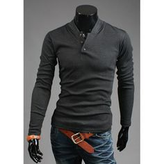 Fashion Button Design Stand Collar Long Sleeve Slimming Polyester Sweatshirt For Men #hats, #watches, #belts, #fashion, #style
