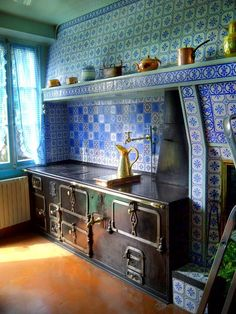 cast iron stove in Claude Monet's Giverny kitchen.