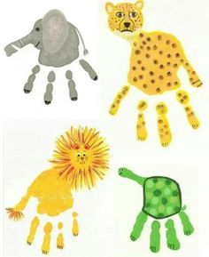 Jungle animal hand print art Just an idea to inspire creative hand and foot prints on plates, mugs etc at www.TheFunkyTeapot.co.uk