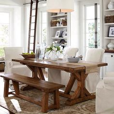 wood and white dinning table