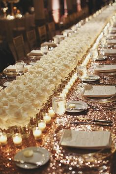 100 + Must Have Gold Color Palette to Wow Your Guests---gold and white wedding centerpieces with floating candles and flowers, rose gold glitter table runners, diy wedding reception table settings, luxury wedding theme for fall or winter Rose Gold Centerpiece, Gold Wedding Centerpieces, Modern Centerpieces, Reception Decorations, Event Decor, Table Decorations, Centerpiece Ideas, Elegant Party Decorations, Quinceanera Centerpieces
