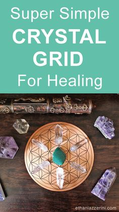 How to make a simple Crystal Grid for healing & health. Download the free Flower of Life Crystal Grid Template! #crystalhealing