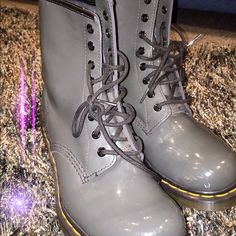 Gray patent leather doc martens Size 10! Only worn a few times. Size was way too big for me to wear frequently! In very decent condition. Dr. Martens Shoes Combat & Moto Boots