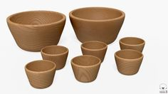 ZIPPY - two medium conical chestnut bowls and six small ones | 3D Model