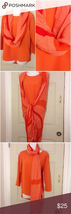 """🌴NEW LISTING🌴 Calvin Klein Scarf/Wrap Orange and red. Wear as a scarf or wrap. 51"""" X 56"""".  Guess Shirt sold in closet. (10/22) Calvin Klein Accessories Scarves & Wraps"""