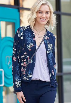 chiffon bomber jacket in navy blue floral print   maurices