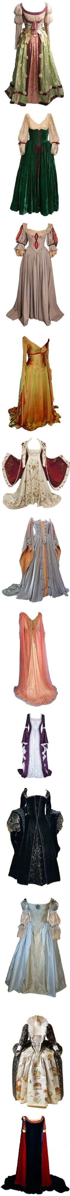 Medieval and Renaissance Inspired Fashions pt 6 by roseredrum on Polyvore featuring dresses, gowns, long dress, medieval, costume, costumes, medieval dresses, historical, long dresses and epoca--  Shorten the top two designs and you can have a hobbit-esc type costume :)