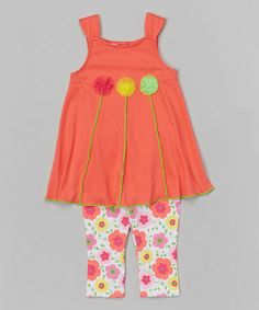 Look what I found on #zulily! Coral Floral Swing Top & Leggings - Infant, Toddler & Girls by Kids Headquarters #zulilyfinds
