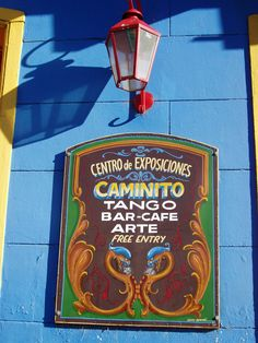 Colorful sign, depicts the Fileteado art and the presence of the Tango in Buenos Aires