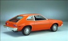 Looks like my first car, 1974 Ford Pinto. Mine was a reddish orange and we called it The Pimento. Only new car I've ever owned.