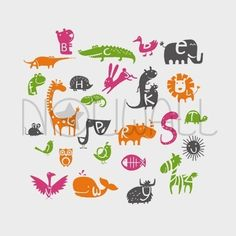 Alphabet Sticker Frieze  091  Animals for children by NouWall, $85.00