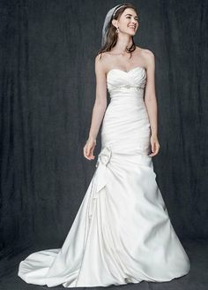 Petite Satin Mermaid Gown with Bow Detail