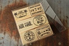 Set of 6 Stamps  Air Mail Stamps Cancellation Stamps by SpiralSage, $8.00