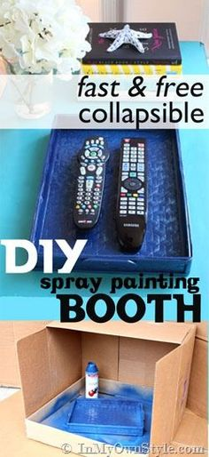 DIY Spray Painting Booth that you can make in seconds!  Keeps the overspray contained and not on surrounding objects.