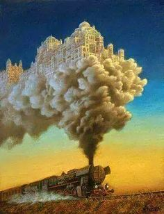 Magic realism originates through different links of postmodernism, fantasy, and surrealism. This is a surrealist oil painting. Illusion Kunst, Illusion Art, Vladimir Kush, Invisible Cities, Surreal Artwork, Magic Realism, Surrealism Painting, Fantasy Landscape, Fantastic Art