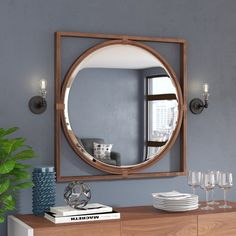 Shop Mercury Row at AllModern for a modern selection and the best prices. Enjoy Free and Fast Shipping on most stuff, even big stuff! Wood Mirror, Round Wall Mirror, Diy Mirror, Entry Mirror, Mirror Wall Art, Living Room Mirrors, Dining Room Walls, Rustic Bathrooms, Frames On Wall