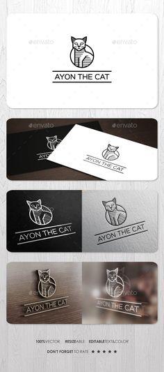 Ayon The Cat Logo: Animal Logo Design Template by ashenterprise. Web Design, Logo Design, Graphic Design, Tattoo Studio, Neko, Grey Cats, Black Cats, Cat Aesthetic, Cat Room